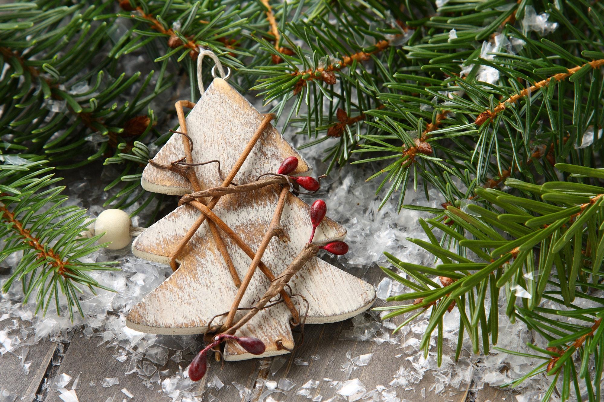 Christmas composition with christmas tree